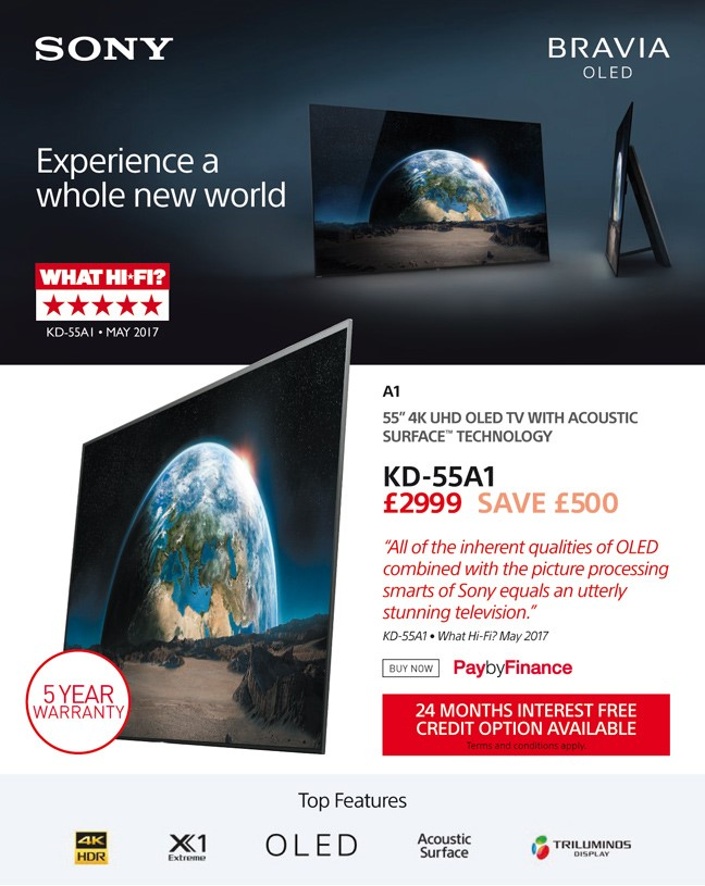 Sony KD-55A1 - £2999 - Free UK Delivery - Interest Free 24 Months Credit Available