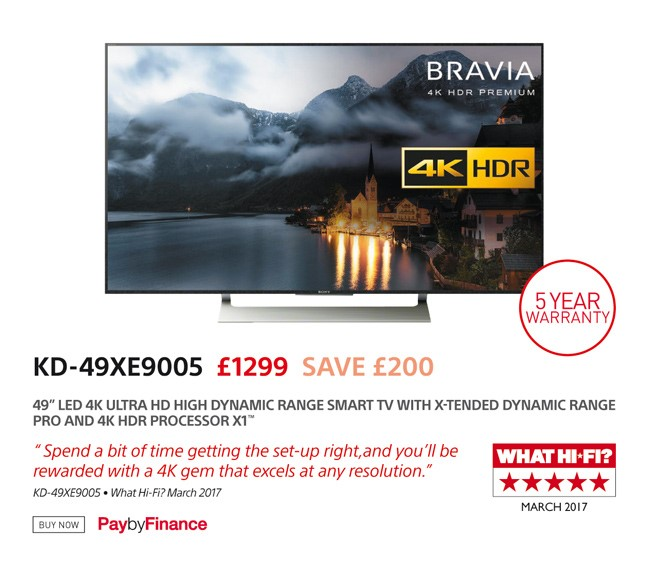 Sony KD-49XE9005 - £1299 - Free UK Delivery - Finance Options Available