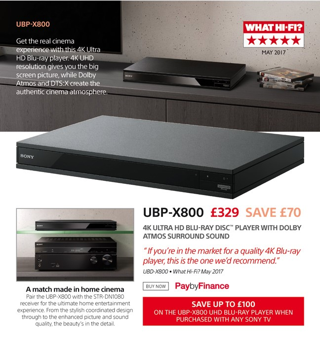 Sony UBP-X800 - £329 - Free UK Delivery - Finance Options Available