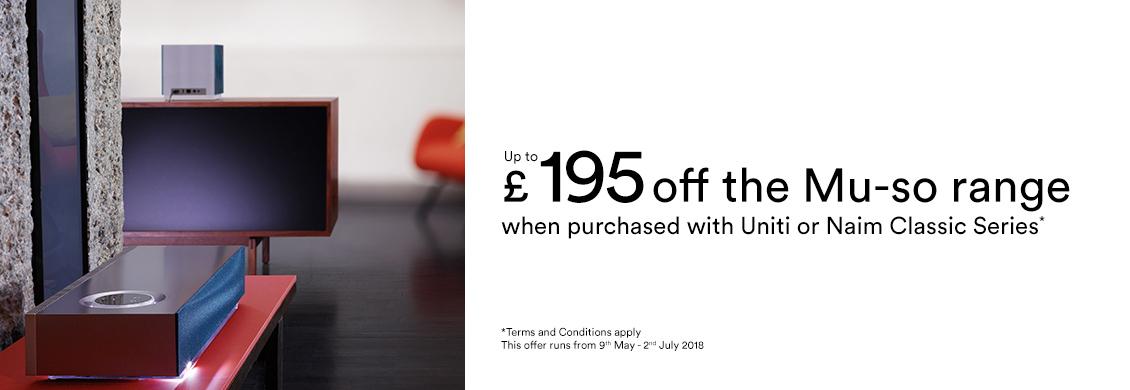 Save up to £195 on a Naim Mu-so Wireless Speaker